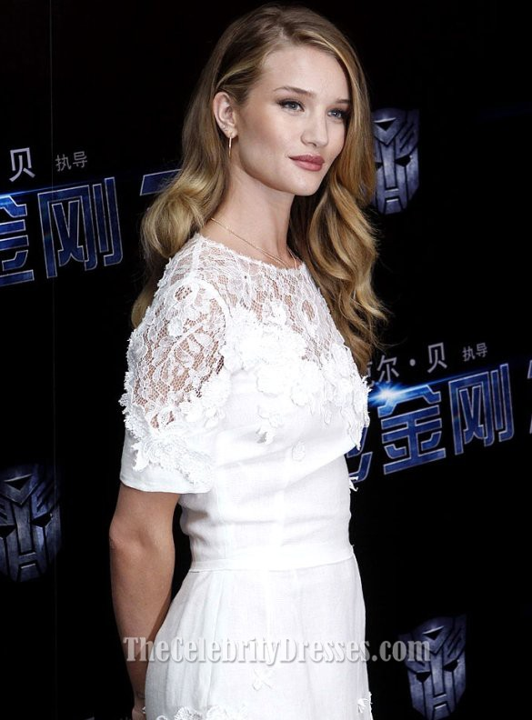 Rosie Huntington-Whiteley White Dress'Transformers 3 ...