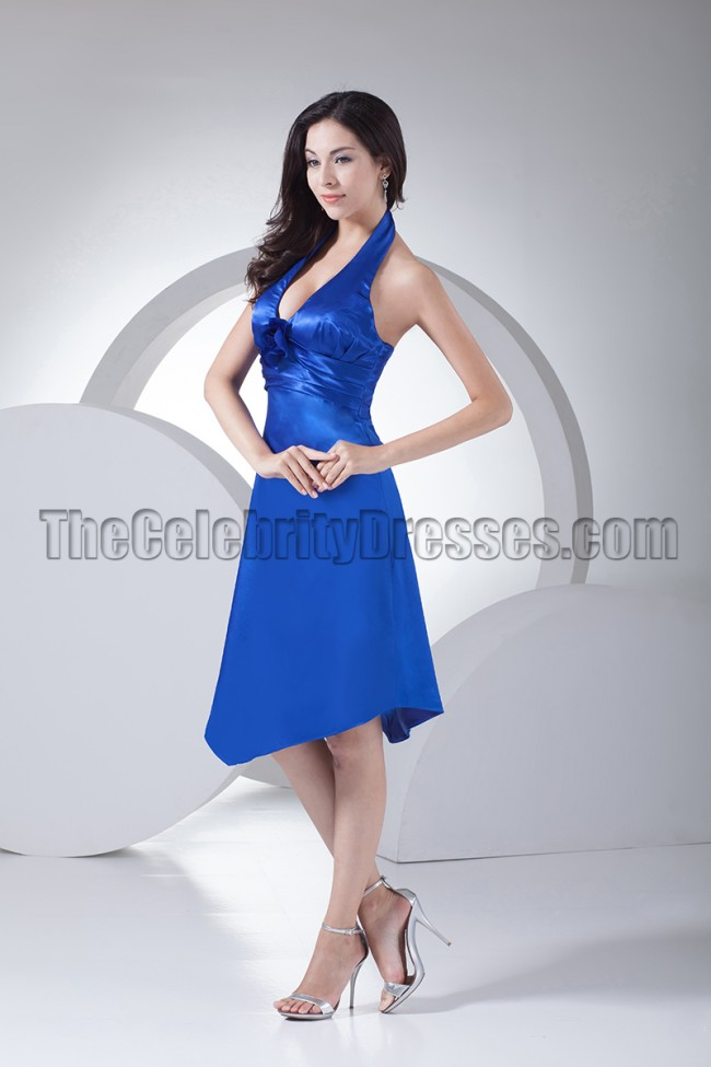 Discount Royal Blue Halter Cocktail Bridesmaid Dresses ...