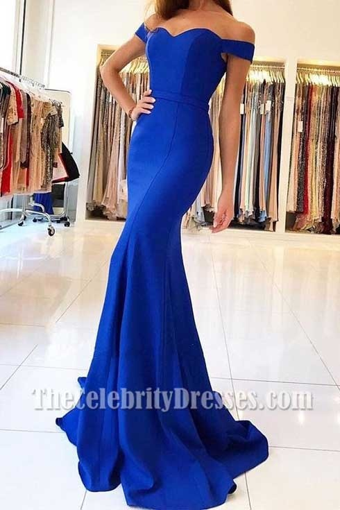 formal royal blue off the shoulder dress