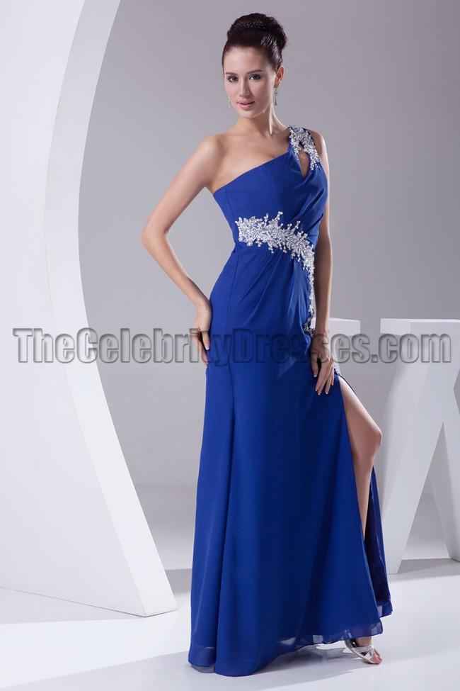 Royal Blue One Shoulder Evening Dresses Formal Gown
