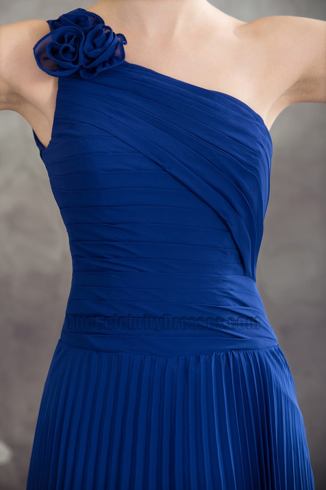 Royal Blue One Shoulder Prom Gown Evening Bridesmaid ...