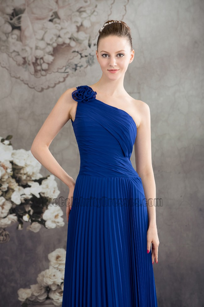 Royal Blue One Shoulder Prom Gown Evening Bridesmaid Dresses