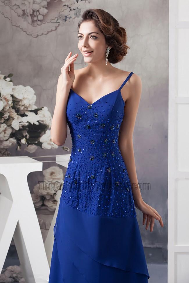 Royal Blue Spaghetti Straps Chiffon Evening Dresses With A