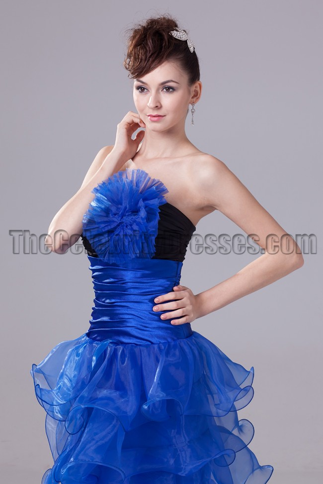 Royal Blue And Black Strapless Prom Gown Evening Dresses