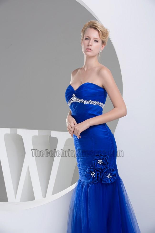Royal Blue Tulle Mermaid Strapless Formal Dress Evening