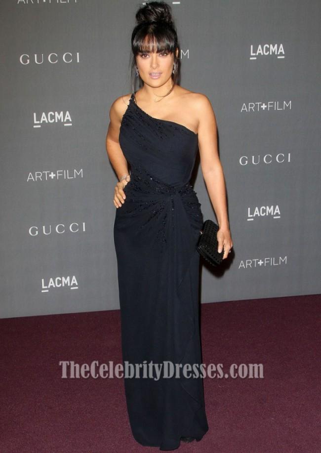 Salma Hayek Black One Shoulder Prom Gown Lacma 2017 Art Film Gala