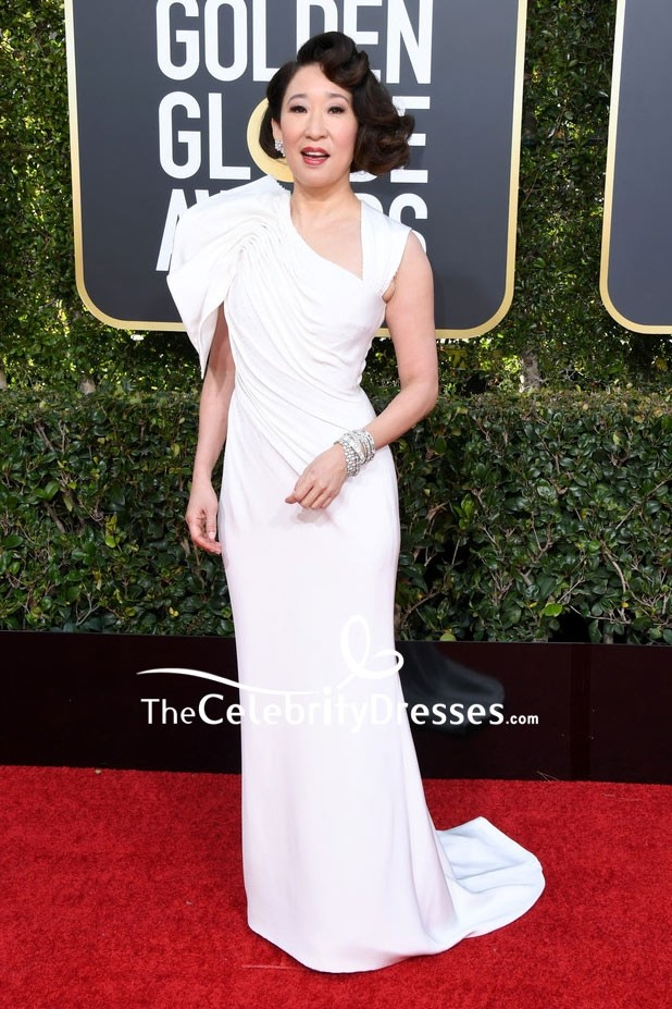 5692c95ae4f Sandra Oh White Column Evening Dress 2019 Golden Globes Red Carpet ...