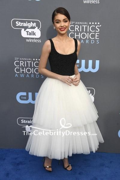 84ecb60a619 Sarah Hyland two-tone Beaded Tulle Prom Dress 2018 Critics  Choice Awards