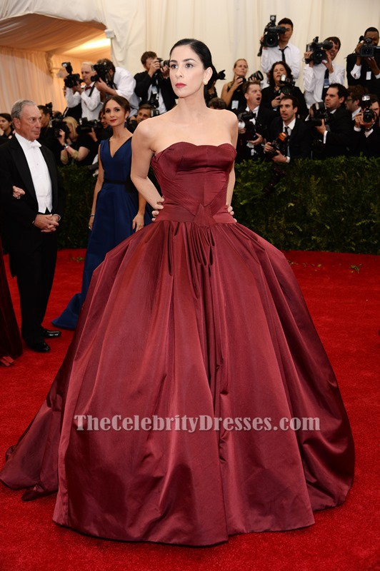 088af8d601 Sarah Silverman Burgundy Ball Gown Quinceanera Dress 2014 Met Gala Red  Carpet
