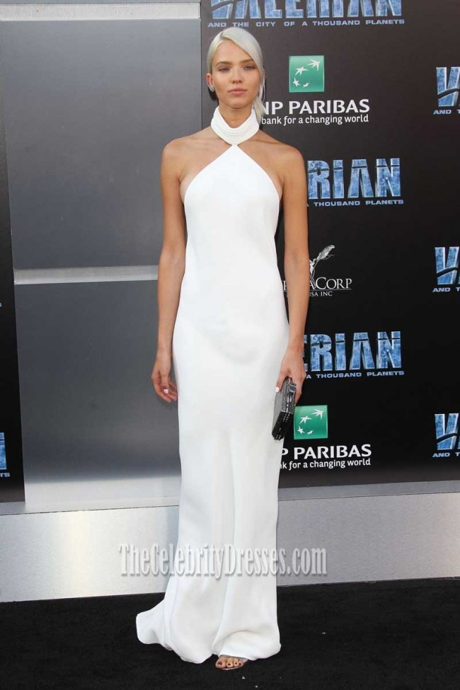 sasha luss white halter backless prom dress valerian and