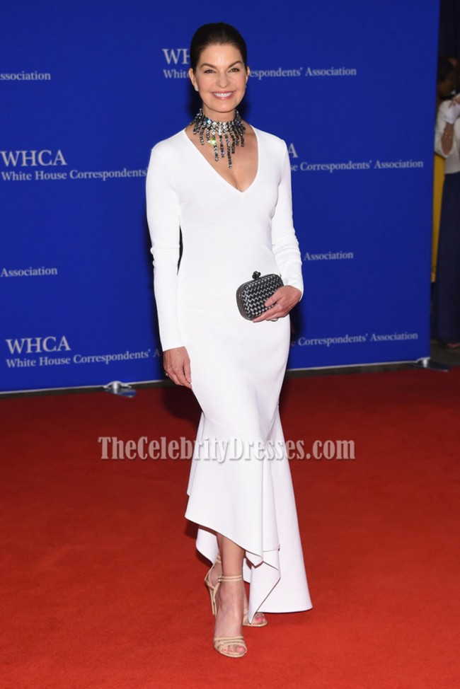 Sela Ward White Asymmetrical Formal Evening Dress 2016