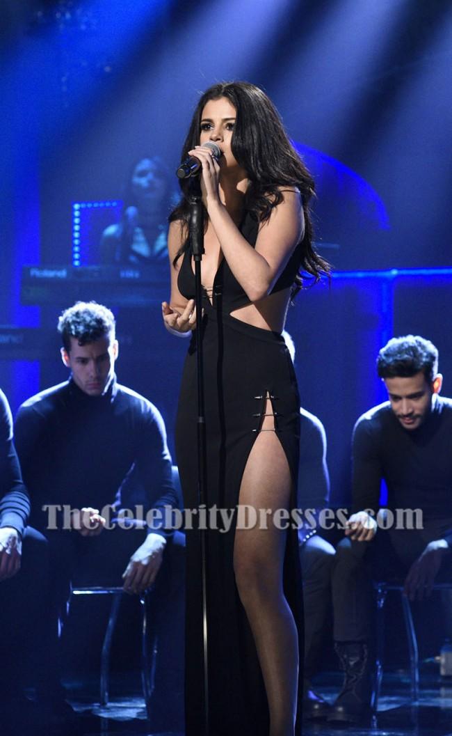 Selena Gomez Black Cutout High Slit Evening Dress Saturday