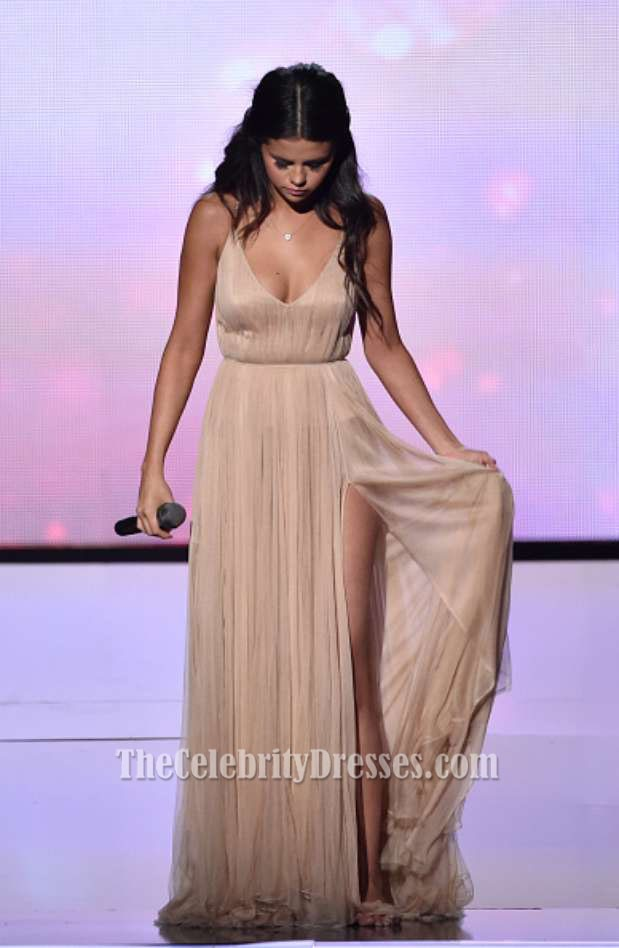 Selena Gomez Champagne Evening Prom Dress 2014 American Music Awards ...