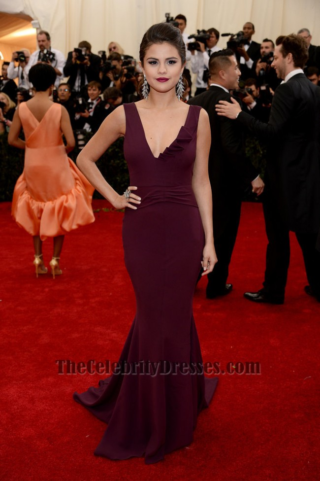 Selena gomez grape prom dress met gala 2014 red carpet thecelebritydresses - Designer dresses red carpet ...