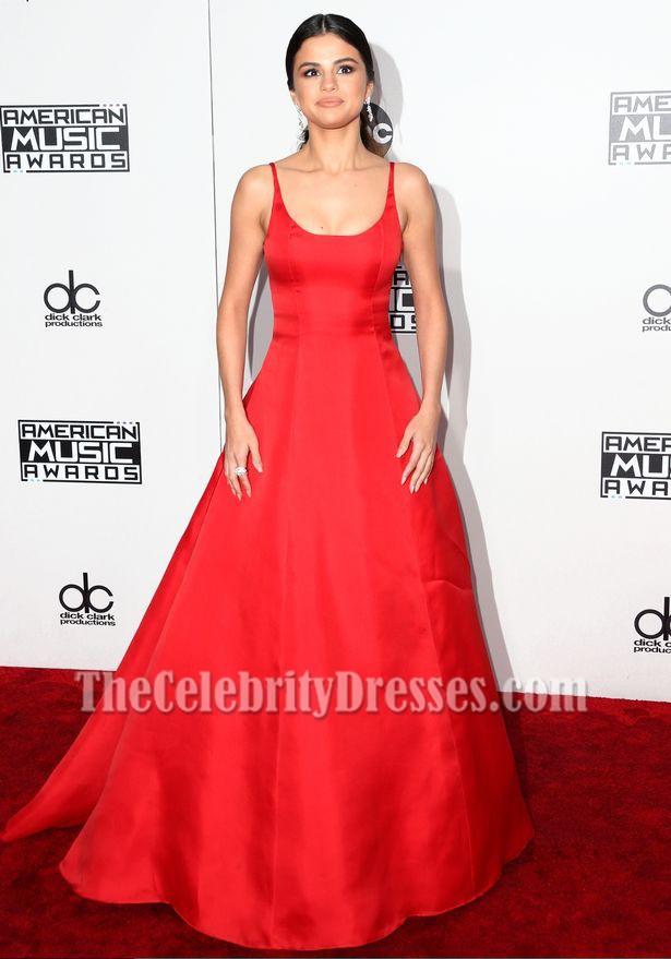 Selena Gomez Red Formal Dress 2016 American Music Awards Evening
