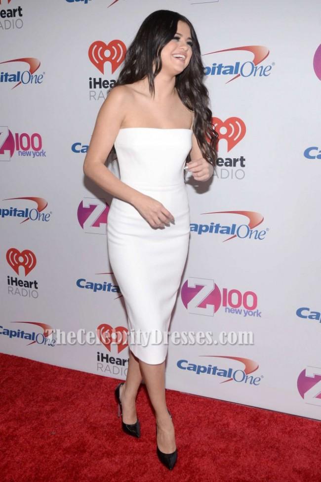 Selena Gomez White Cocktail Dress Z100 S Jingle Ball 2015