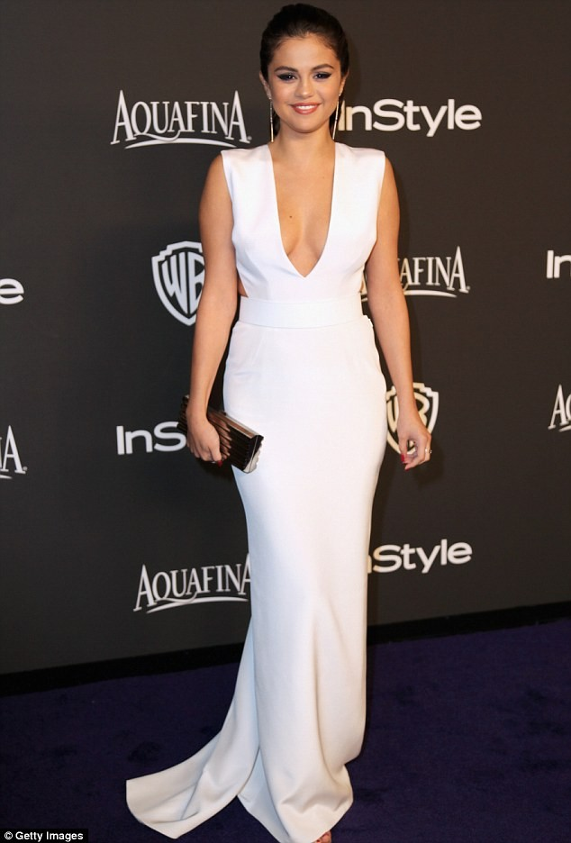 Selena Gomez White Evening Dress 2015 InStyle And Warner Bros Golden Globe Awards Post Party