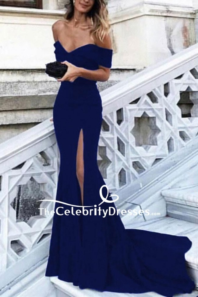 Sexy Navy Blue Off The Shoulder Sheath Prom Dress