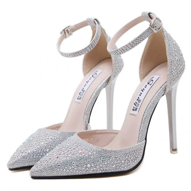 a62e26d1b11 Sexy Silver Drilled Pointed Toe Stiletto Heels Prom Shoes With Ankle Strap  Zoom · alt