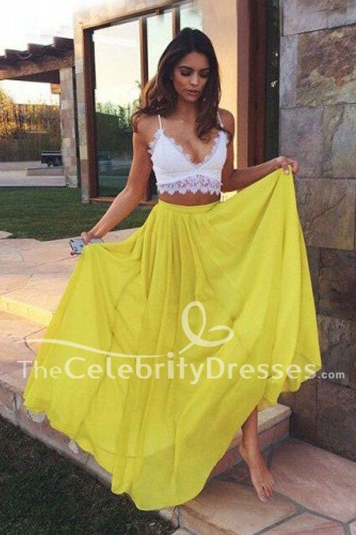 8849896f087 Sexy White And Yellow Two Piece Prom Gown Evening Party Dresses ...