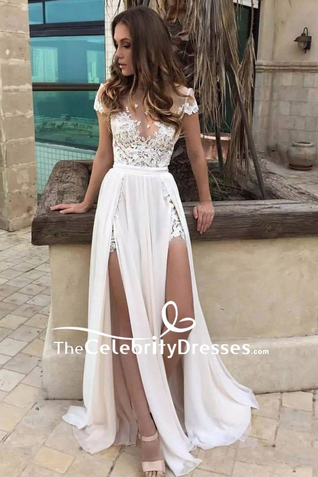 5b5baee76ac Sexy White Thigh-high Slit Cap Sleeves Lace Prom Dress TCDFD8043