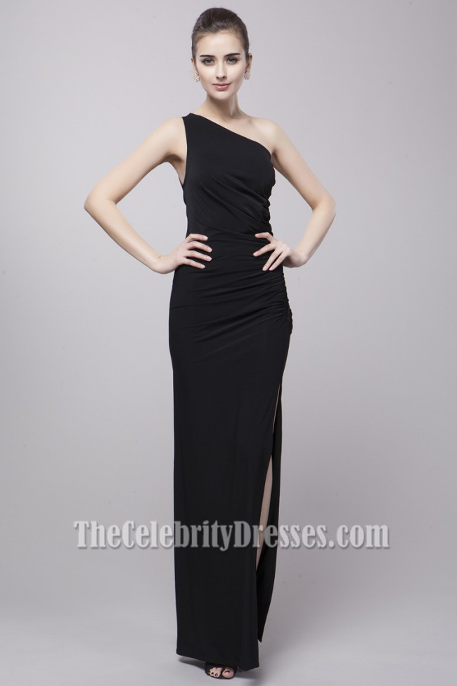 Sexy Black One Shoulder Evening Gown Prom Dresses ...