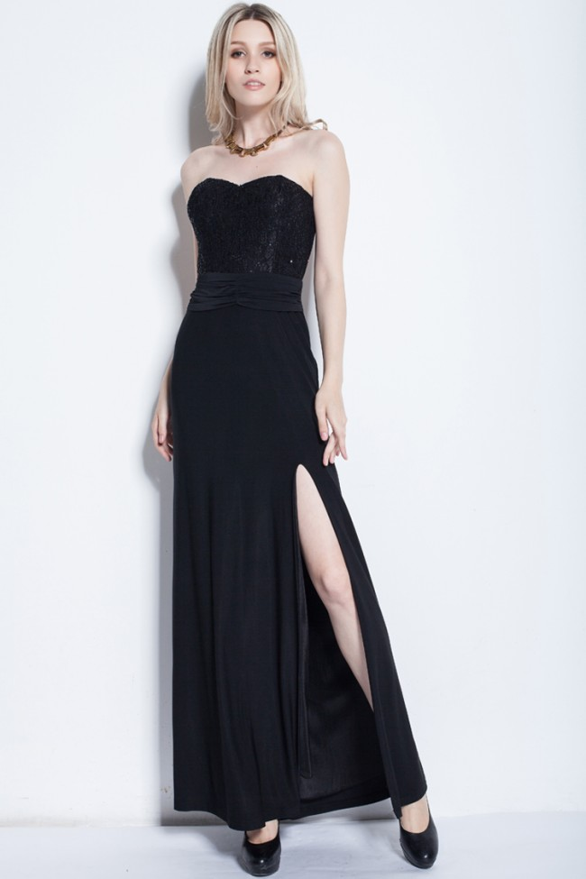Sexy Black Strapless Evening Gown Prom Dress - TheCelebrityDresses