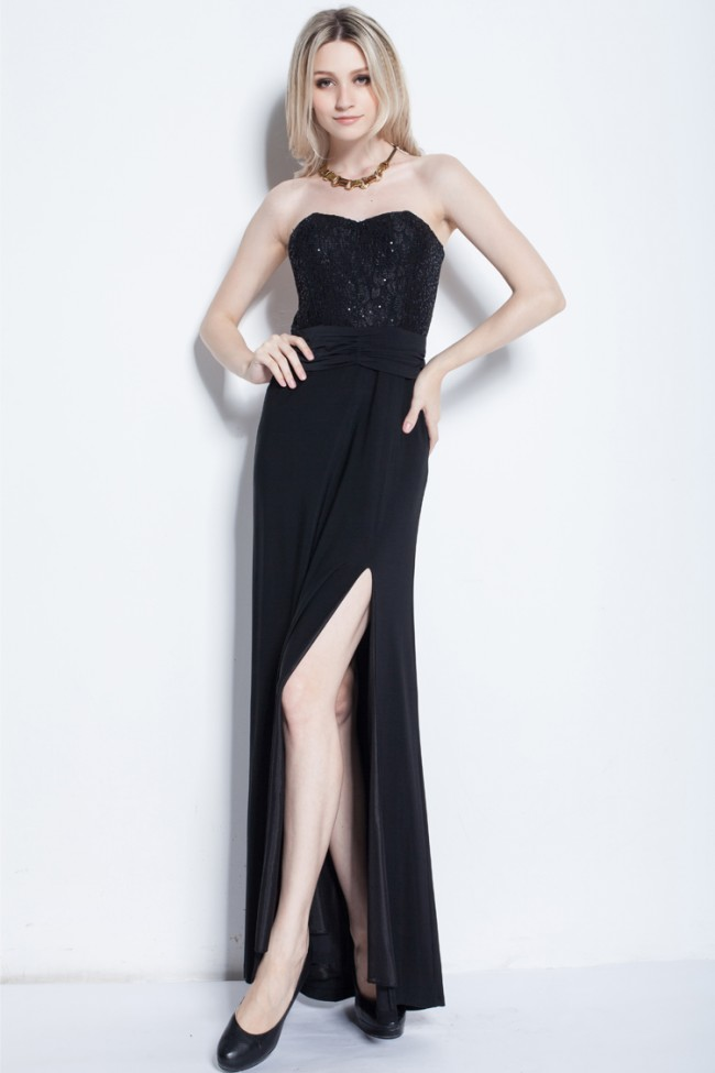 Black Strapless Evening Dress - Fn Dress