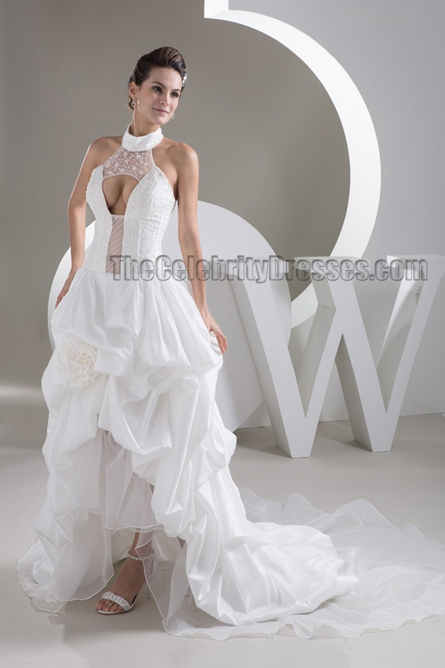 Sexy halter a line high low sweep brush train wedding for Sexy high low wedding dresses