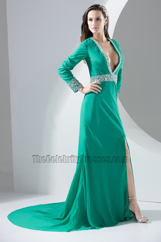Sexy Long Sleeve Deep V Neck Evening Dress Prom Gown
