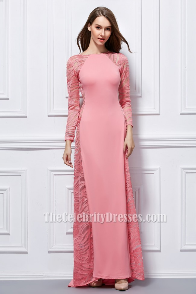 Sexy Pink Long Sleeve Formal Dress Evening Gown - TheCelebrityDresses