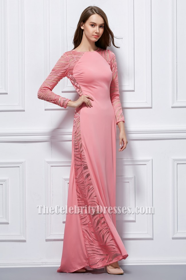 Sexy Pink Long Sleeve Formal Dress Evening Gown Thecelebritydresses