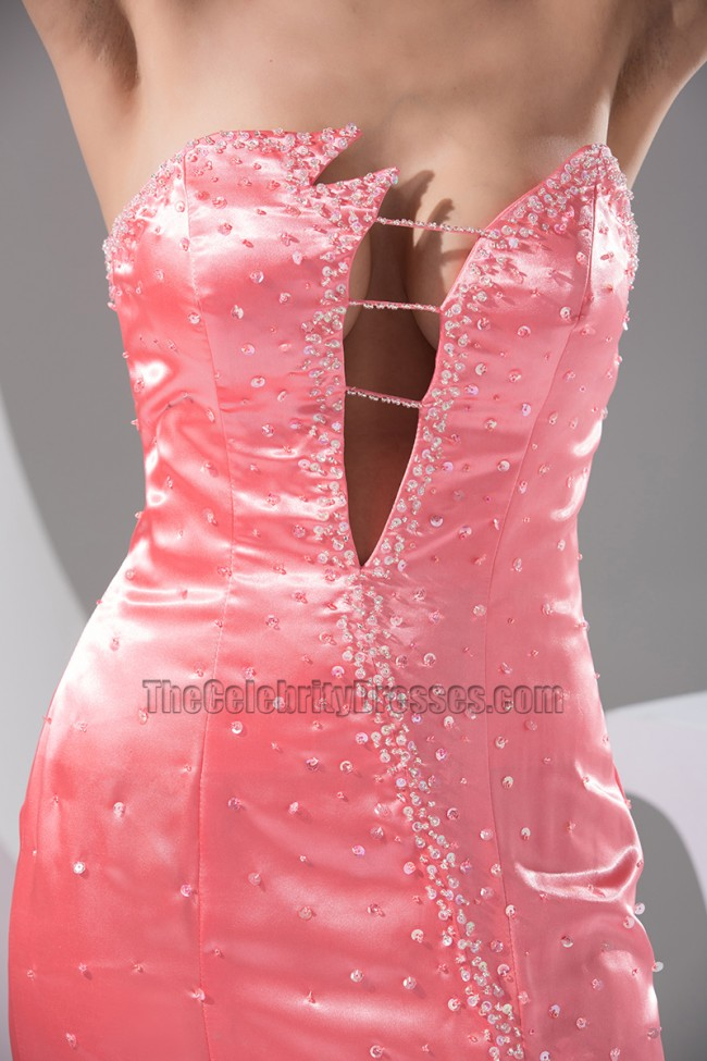 Sexy Pink Strapless Floor Length Evening Gown Prom Dress