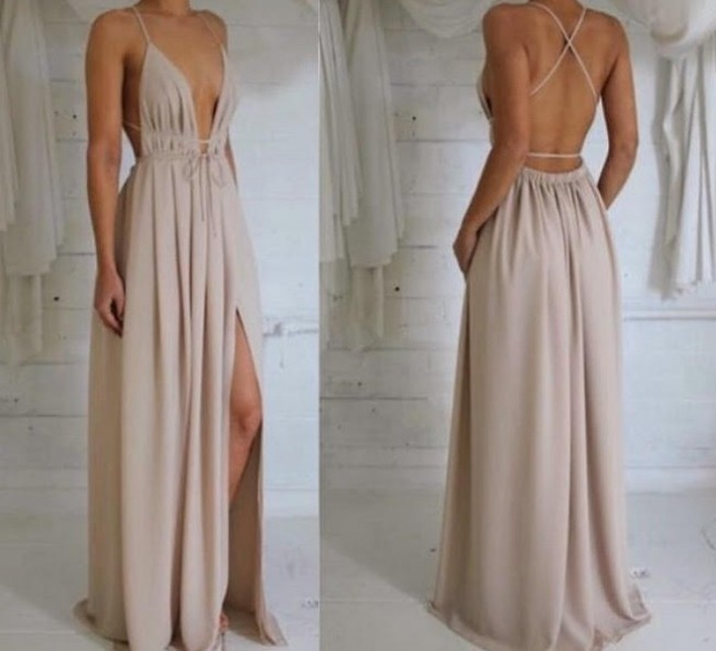 263c77de7e58a Sexy Plunging V-neck Evening Dress Backless Halter Prom Gown TS6660 ...