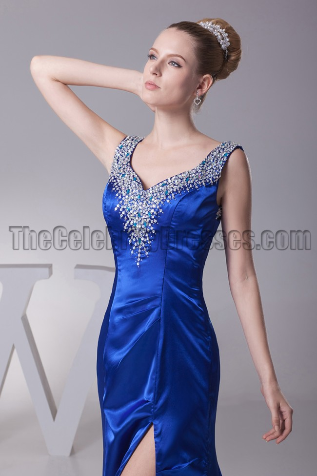 Sexy Royal Blue Beaded Evening Gown Formal Dresses