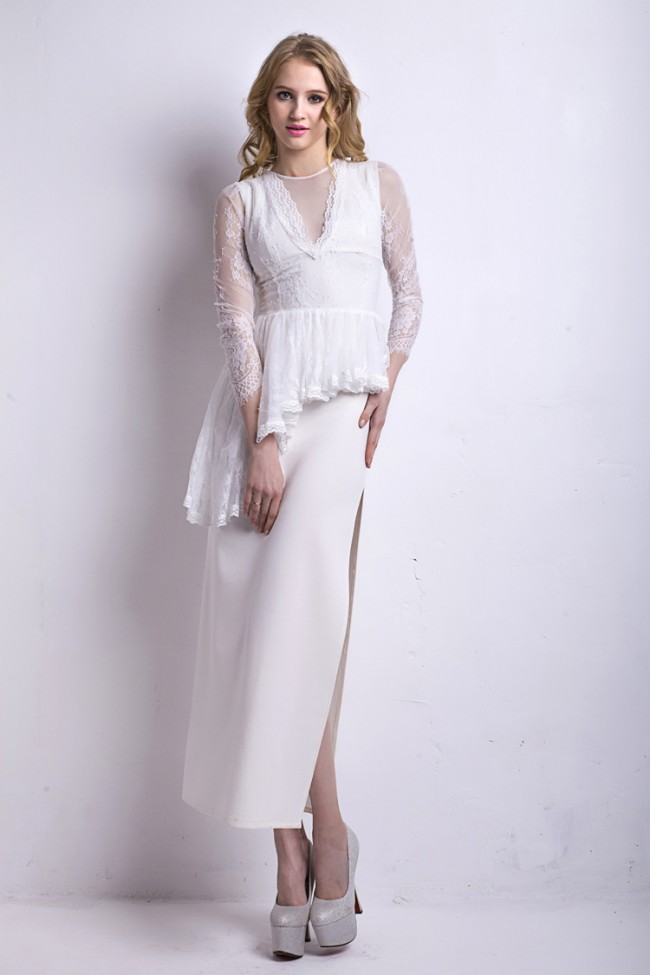 Sexy White High Slit Long Sleeve Formal Evening Dresses ...