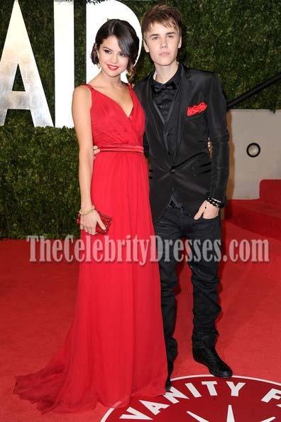 6d2c91e4568 Selena Gomez Red Chiffon Evening Formal Dress 2011 Oscars ...