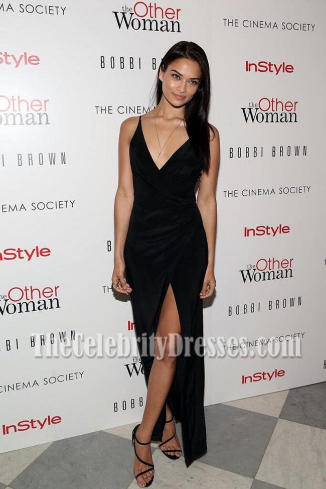 Shanina Shaik Black Spaghetti Straps High Slit Prom Gown