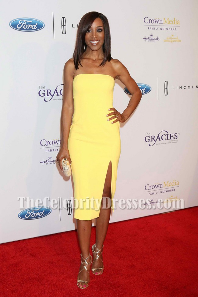 Shaun Robinson Yellow Strapless Party Dress 41st Annual