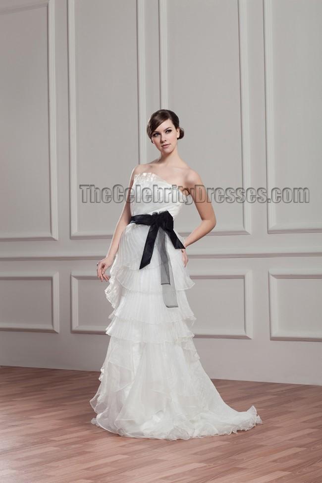 sheath column strapless organza wedding dress with a black