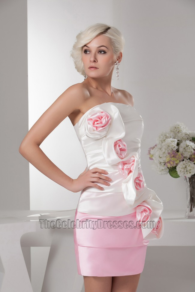 white and pink strapless party homecoming dress with