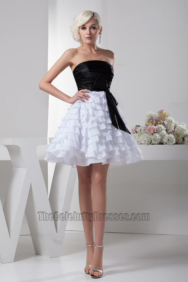 19d806b0b9a Gorgeous Short A-Line Black And White Party Graduation Dresses ...