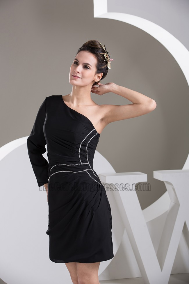 d450506bbe5 Short Black One Sleeve Party Graduation Homecoming Dresses -  TheCelebrityDresses