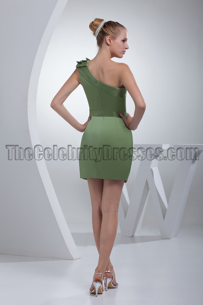 Short Green One Shoulder Party Graduation Dresses - TheCelebrityDresses