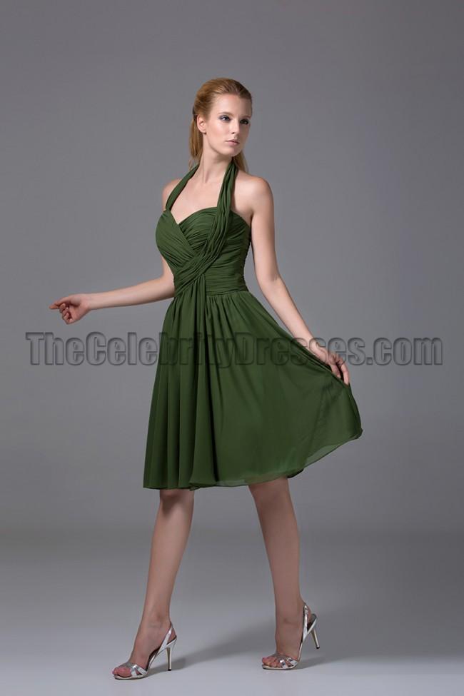Cheap Short Halter Dark Green Bridesmaid Cocktail Dresses