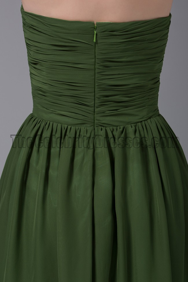 Dark Green Long Mermaid Chiffon and Lace Straps Bridesmaid ...