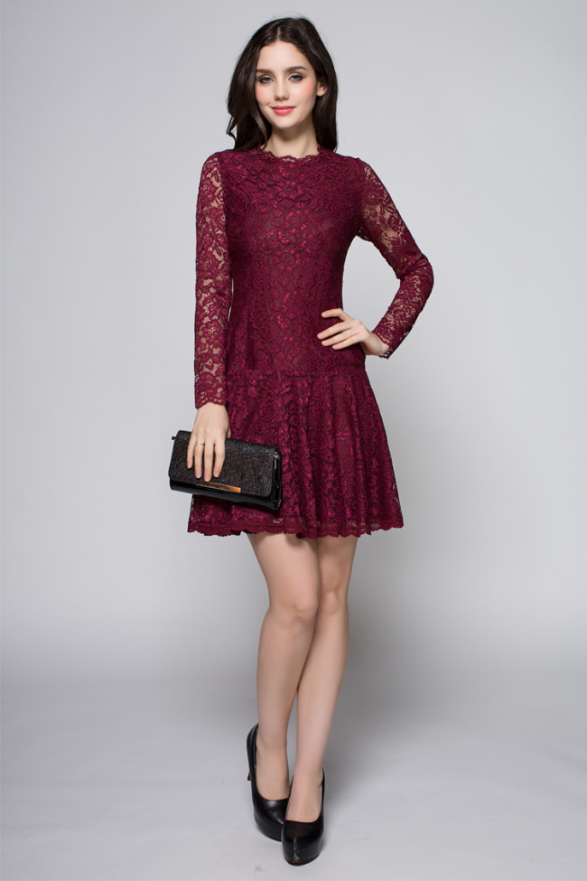 Short Mini Burgundy Long Sleeve Lace Party Homecoming ...
