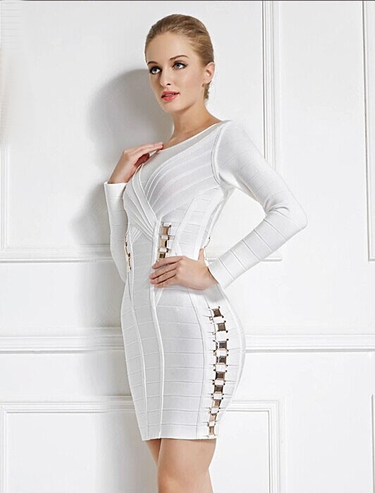 3b04a07ce11 Short Mini White Long Sleeve Bandage Party Cocktail Dresses -  TheCelebrityDresses