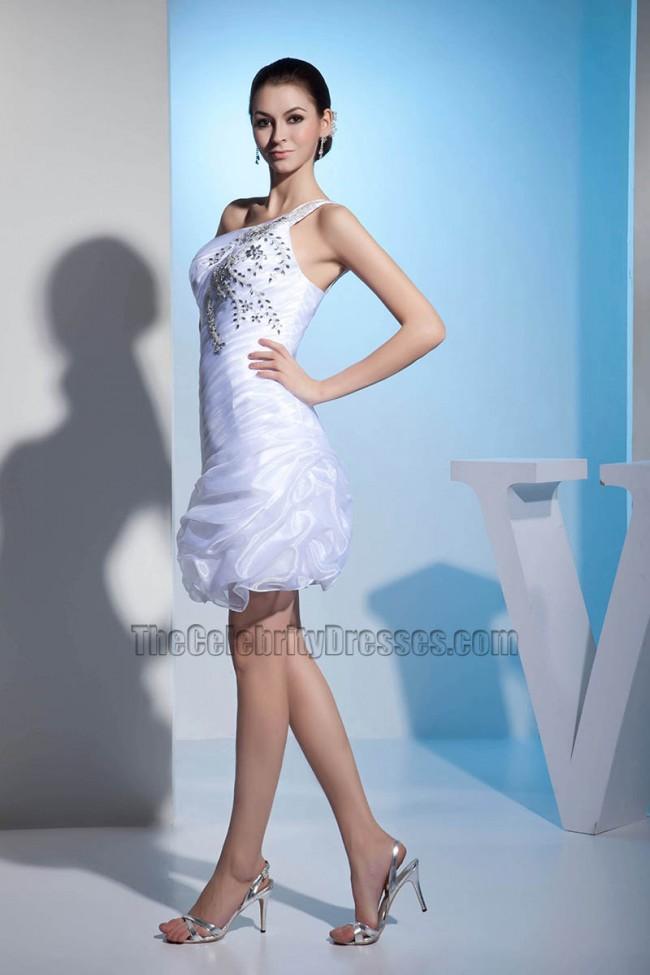 Short One Shoulder Organza Wedding Dress With Beadwork ...