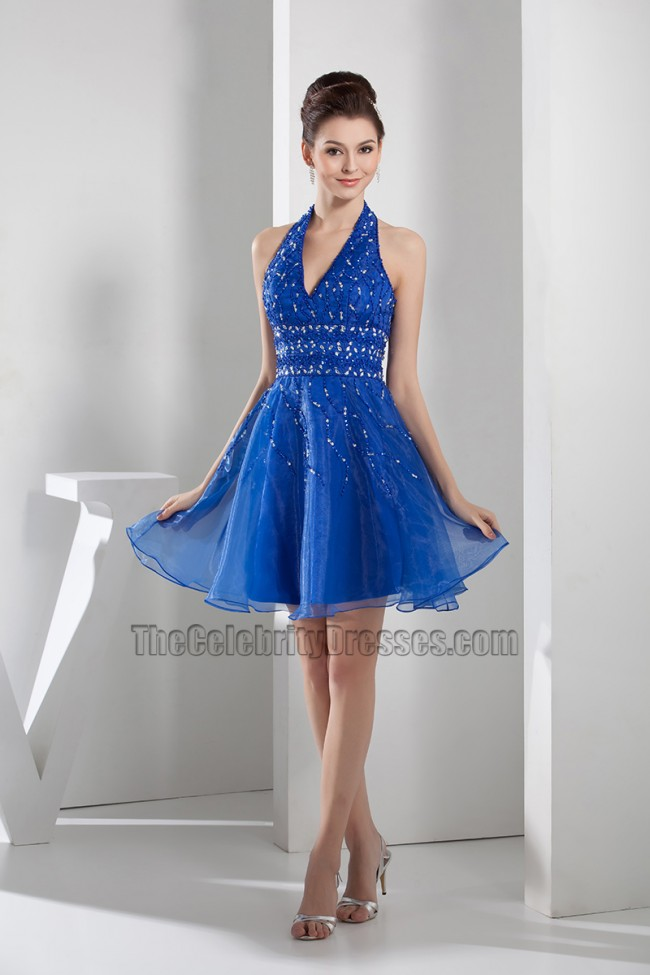 Short Royal Blue Halter Graduation Cocktail Party Dresses With ...